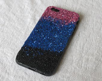iPhone 6 and 6S cover, gradient galaxy patterned glittery cellphone case, pink blue and black glitter, cool tech accessory for girls