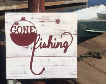 Gone Fishing - hand crafted wood sign