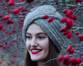12fda5d7441 knitted hat - turban hat -knitted turban - 100% wool beanie - autumn hat-maroon  knitted hat - grey knitted hat -green knitted hat-spring hat