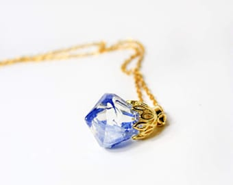 blue terrarium jewelry mother resin necklace grandmother gift mom gold crystal clear lollipop floral aunt for  teacher gifts cornflower Р1