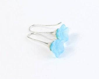Flower Earrings - Lightweight Blossom Jewelry - Sky Blue Earrings - Opal Blue Silver Jewelry - Dangle Earrings Wife - Gift For Her Birthday