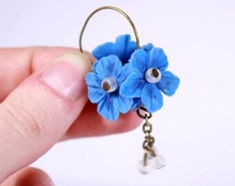 Bright Blue Earrings Gift Sister Cluster Flower Jewelry for Daughter Gift - Hoop Ball Earrings Kanzashi Original Jewelry Beaded Drop Earring