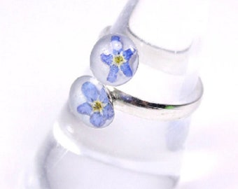 Flower Ring For Her Gift - Terrarium Blue Ring Double - Gift For Mother - Adjustable Ring - Forget Me Not Silver Jewelry For Girl Lover Gift