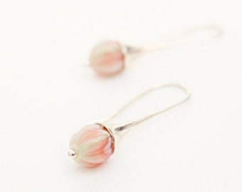 Pink Earrings For Her Gift - Silver Jewelry For Bridesmaid Gift - Small Christmas Jewelry Women - Lightweight Prom Earring for Daughter Gift