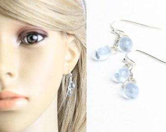 Blue Jewelry Beach Earrings for Best Friend - Water Drop Ear Silver - Frozen Princess Anna Jewelry - Fashion Girlfriend Gift for Daughter
