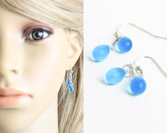 Sky Blue Earrings For Daughter Gift - Summer Cluster Jewelry - Simple Silver Earrings Sale Gifts Birthday For Friend - Short Drop Earrings