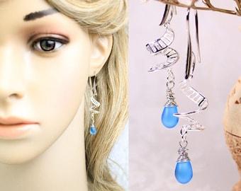 Blue Earrings Gift for Her - Cobalt Blue Jewelry - Bridesmaid Proposal - Sky Blue Earrings Silver Bohemian Jewelry Modern Drop Earrings Sale