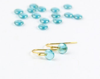 Light Blue Jewelry Tiny Round earrings Gold - Mini Luster Earring for Her Gift - Geometric Jewelry Bridal Party Earrings for Princess Jasmin