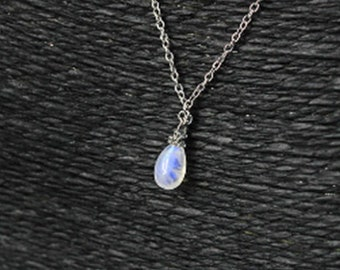 blue moonstone necklace gemstone jewelry silver necklace gold necklace for wife gifts birthstone necklace layering tiny necklace drop Y38