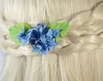 blue hair jewelry wedding accessory gift flower girl hair clip blue hydrangea brooch polymer clay flower hair jewelry gift daughter FJ20