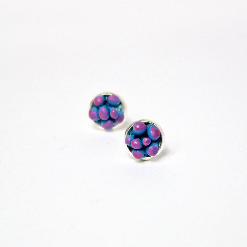 Blue Pink Jewelry  Tiny Succulent Studs Earrings for Daughter image 1