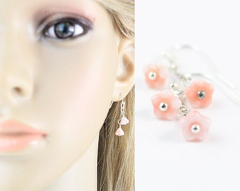 Dangle Earrings for Mom Gift - Pink Earrings for Children - Earrings for Women - Tiny Earrings for Daughter Gifts - Colorful Jewelry Gifts
