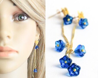 Beach Long Blue Studs for Sister - Boho Gold Cobalt Studs Earrings Dangle Royal Jewelry for Women Gift - Costume Jewelry Sale Gifts for Her