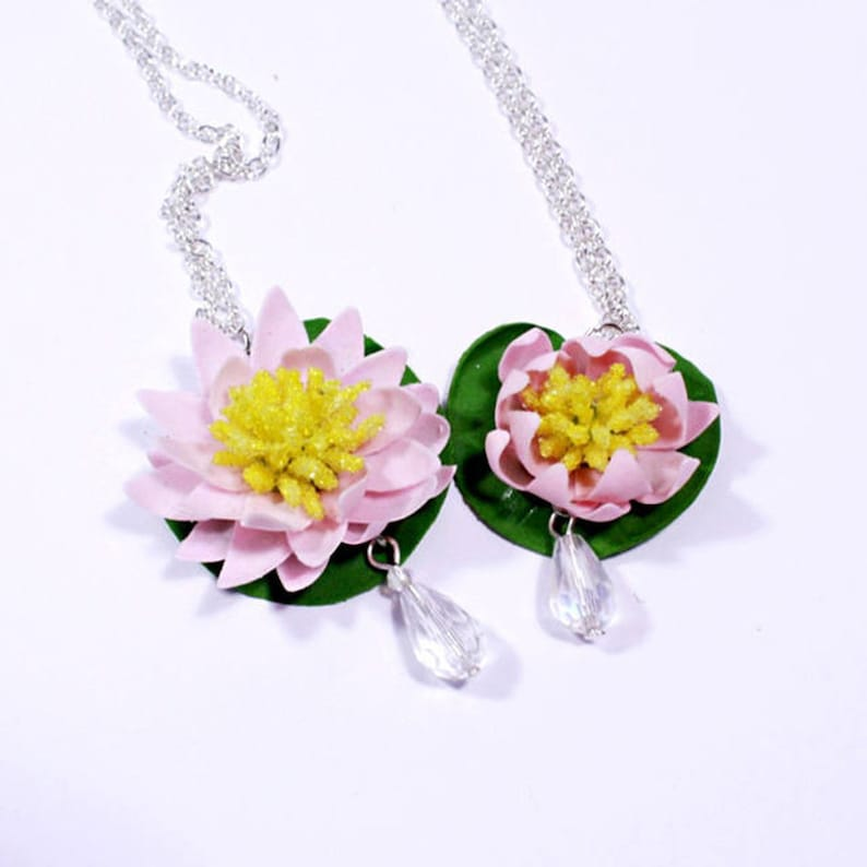 Lotus Necklace Pink Jewelry Crystal Polymer Clay Water Lily Etsy