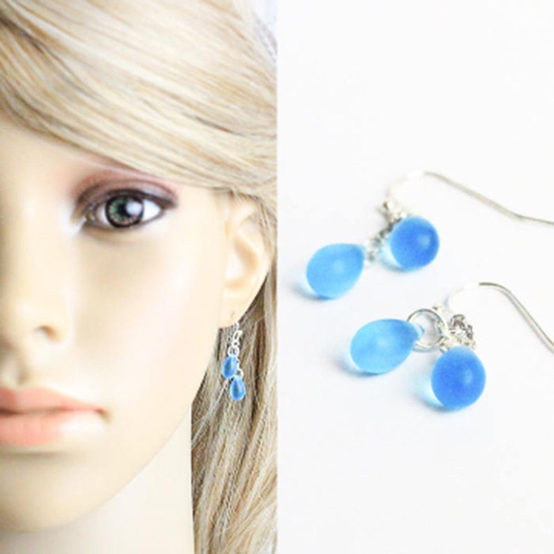 sky blue earrings cluster jewelry sterling silver earrings image 0