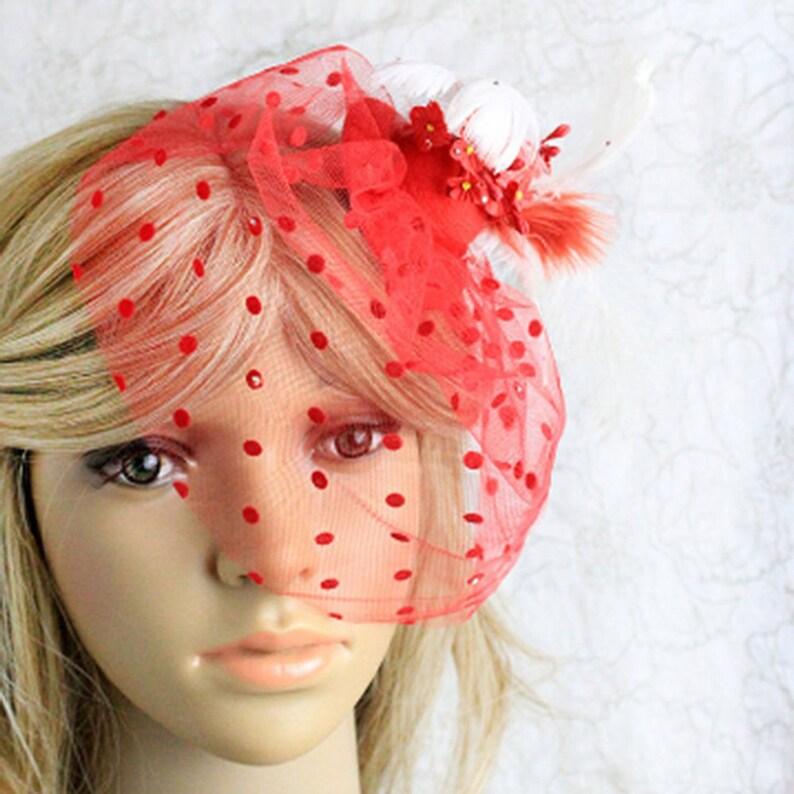 c66ffa95de8a2 Red fascinator hat feathers hair decor red veil hat kentucky