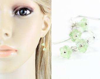 Tiny Earrings for Gifts - Green Earrings for Children - Earrings for Women - Colorful Jewelry Gift for Daughter - Dangle Earrings for Mom