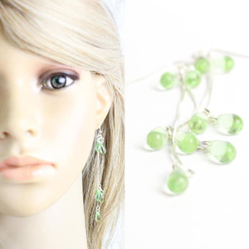 Long Green Earrings Silver Mint Earrings Cluster Bridesmaids image 1
