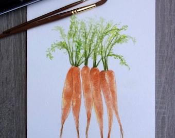 Carrot Watercolor Painting ORIGINAL Kitchen Art Vegetable illustration Botanical Decor Hand Painted A4