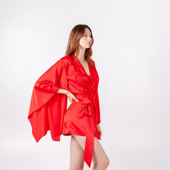 Kimono Short Robe Female with Gift a girlfriend Sexy Robe Robe Lace wife for a Bathrobe to Robe Gift woman for Red Gift Robe the qp088Y
