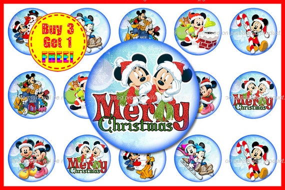 Weihnachtsbilder Cartoon.Mickey Mouse Christmas Bottle Cap Images Christmas Images Instant Download High Resolution Images Buy 3 Get 1 Free Christmas 7