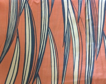 Stunning Retro John Kaldor medium weight pure cotton fabric - Salmon, Grey & white colour 2 metres long x 115 wide