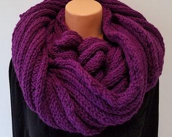 Purple Hand Knit Infinity Scarf