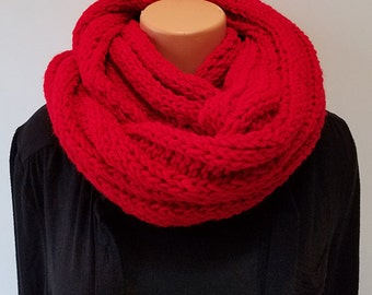Bright Red Hand Knit Infinity Scarf