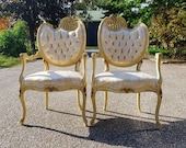 Vintage Pair French Provincial Side Armchairs