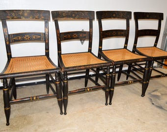 Antique Set OF 4 Early 1830u0027s Hitchcock Style Stenciled Cane Seat Chairs