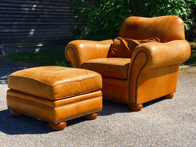 Amazing Vintage Leather Club Chair And Ottoman By Thomasville Furnitures Mid Century Modern Lounge Chair Camellatalisay Diy Chair Ideas Camellatalisaycom