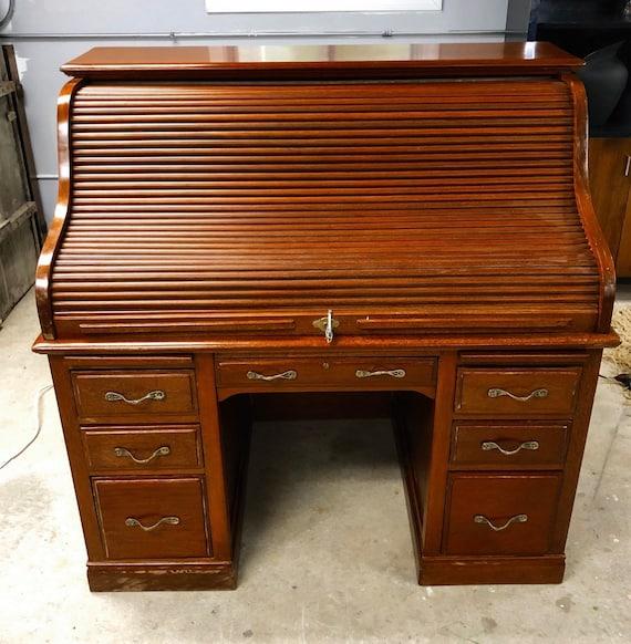 Antique Secretary Desk Etsy >> Wonderful Antique High Quality Walnut Mahogany Roll Top Desk