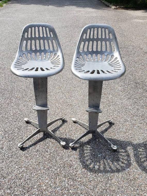 Brilliant Pair Of Industrial Mid Century Modern Metal Bar Stools Machost Co Dining Chair Design Ideas Machostcouk