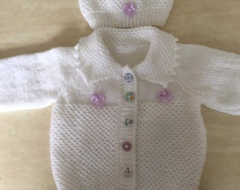 220436089 Hand knit baby set