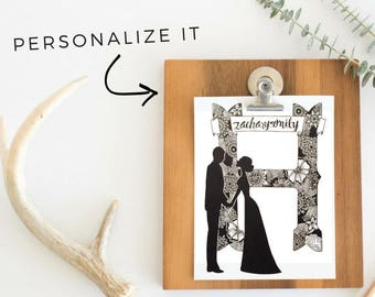 Custom Wedding Silhouette Portrait Art Sign for Bridal Shower Anniversary Couples Gift Tangled Watercolors