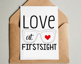 Love At First Sight Cute Glasses Hand Drawn Printable Greeting Card