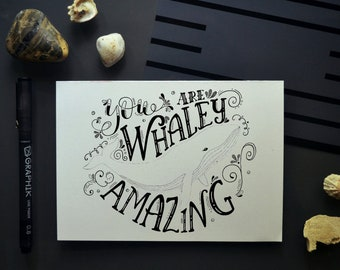 Whaley Amazing Whale Greeting Note Card Hand Drawn/Lettered Summer Beach Sea Life Art