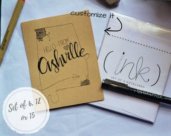 Custom State Note Cards + Envelopes/Gift Set/College Student/Moving Away/Housewarming