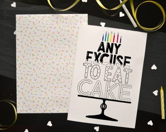 Funny Hand Drawn Happy Birthday Cake Card for Dad / Mom / Friend / Brother / Sister