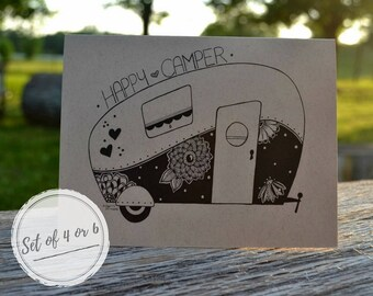 Happy Camper Hand Drawn Note Cards With Envelopes/Camping/Travel/Gift Set