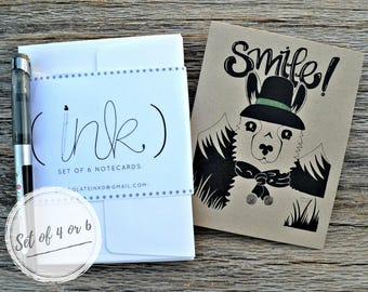 Funny Llama/Alpaca Hand Drawn Note Cards With Envelopes/Smile/Mountains