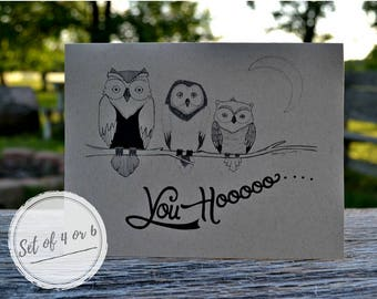 Owl Note Stationary Card Set Hand Drawn With Envelopes