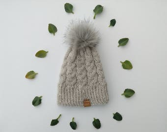 Lil Cabled Beanie + Faux Fur Pom - Oatmeal