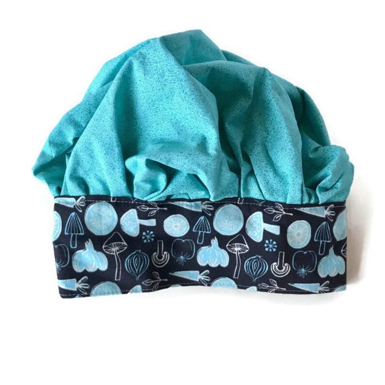 54ec3b24b5db7 Mushroom Print with Blue Accents Fabric Chef Hat for Children