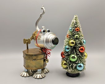 Max Grinch dog sculpture - Found object robot art - Assemblage Art - Upcycled Repurposed - Unique Christmas decor