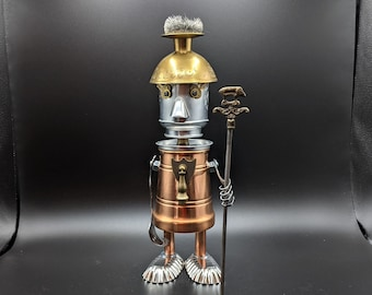 Found object robot Warrior - Soldier - Guardsman - Assemblage Art sculpture - Upcycled Repurposed Recycled