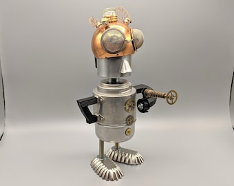 Space Alien statue - Metal found object robot - Assemblage Art - Alien with ray gun - Upcycled Repurposed Recycled sculpture - Unique gift