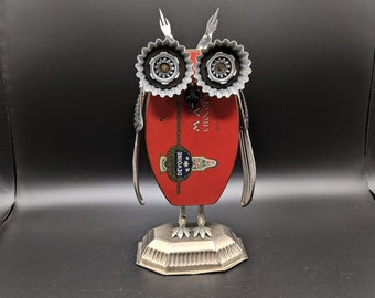 Metal owl sculpture - Found object art - Assemblage - Repurposed - Upcycled Owl figurine - Vintage owl art