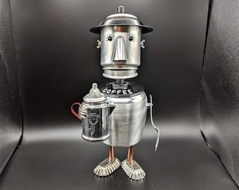 Good Luck Charm Assemblage sculpture Coffee pot Gremlin figurine Found object art Coffee decor