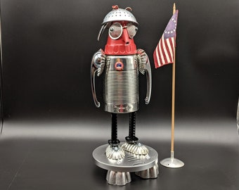 Rocket Man Astronaut sculpture - Found object art - Assemblage Art - Upcycled Repurposed - Space theme - Retro Space